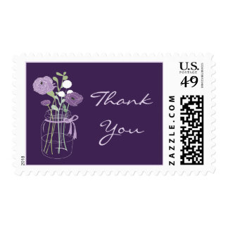 Purple and Lilac Mason Jar Thank You Stamps
