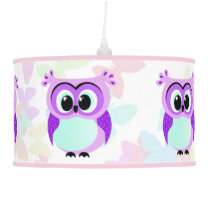 Purple and lilac mother and baby owl cartoon ceiling lamp