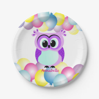 Purple and lilac mother and baby owl cartoon paper plate