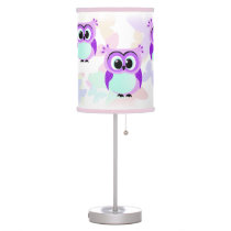 Purple and lilac mother and baby owl cartoon table lamp