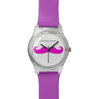 """Purple and Lilac Watch. """"I moustache you the time"""" Wrist Watch"""