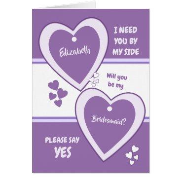 Bride Themed Purple and Lilac Wedding Bridesmaid Card