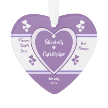 Bride Themed Purple and Lilac Wedding love hearts Ornament