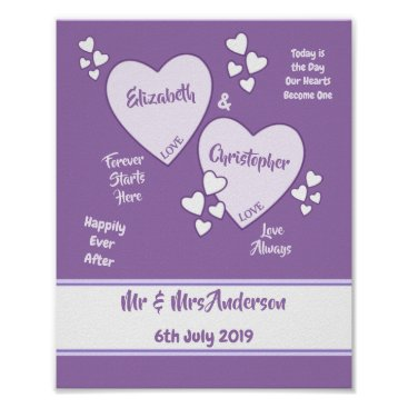 Art Themed Purple and Lilac Wedding Sign Poster