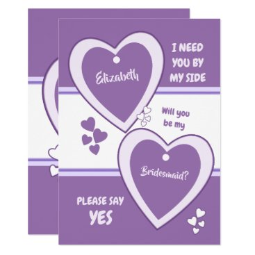 Bride Themed Purple and Lilac Will you be my Bridesmaid Card