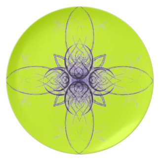 Purple and Lime Abstract by Alexandra Cook Melamine Plate