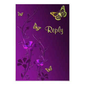 Purple and Lime Floral Butterflies Reply Card