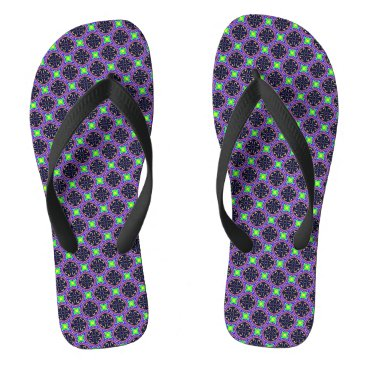 Beach Themed Purple and Lime Geometric 1 Flip Flops