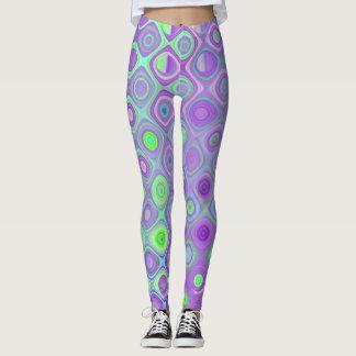 Purple and Lime Green Geometric Design Leggings