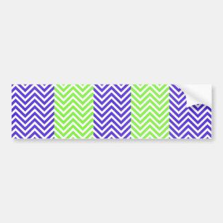 Purple and Lime Green Striped Chevron Zig Zags Bumper Sticker