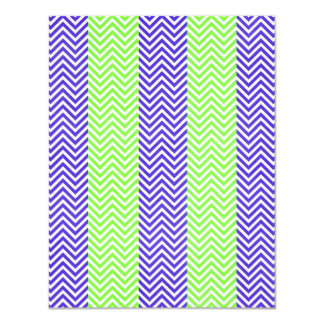 Purple and Lime Green Striped Chevron Zig Zags Card