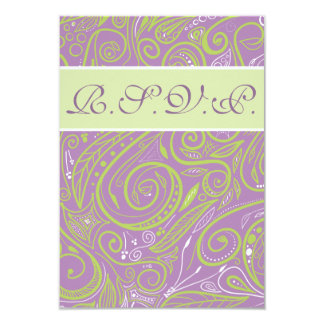 purple and lime paisley wedding theme card