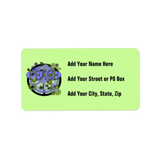 Purple and Lime Peace T-shirts and Gifts Label