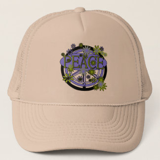 Purple and Lime Peace Trucker Hat