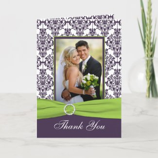 Purple and Lime Thank You Card with Photo card