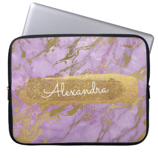 Purple and Marble with Gold Foil and Glitter Computer Sleeve