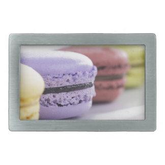 Purple and Maroon French Macaron Cookies Rectangular Belt Buckle