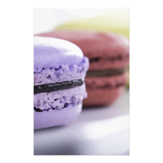 Purple and Maroon French Macaron Cookies Stationery