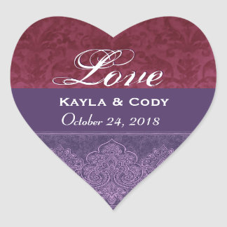 Purple and Maroon Love Bride and Groom Date V07 Heart Sticker