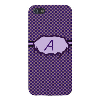 Purple and Mauve Checkered Monogram Iphone 5 Case