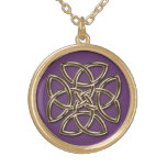 Purple and Metallic Gold Celtic Shield Knot Gold Finish Necklace