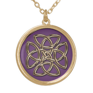 Purple and Metallic Gold Celtic Shield Knot Jewelry