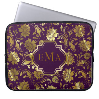 Purple And Metallic Gold Floral Pattern Computer Sleeve