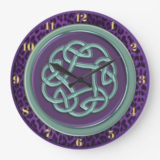 Purple and Mint Celtic Knot with Leopard Clock