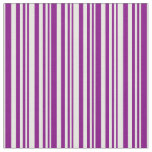 [ Thumbnail: Purple and Mint Cream Colored Stripes Pattern Fabric ]