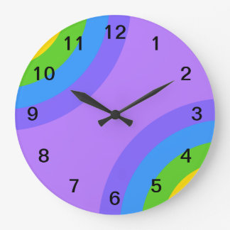 Purple and Multicolor Abstract. Round Wall Clocks