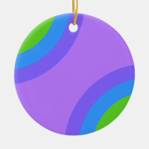 Purple and Multicolor Abstract. Double-Sided Ceramic Round Christmas Ornament