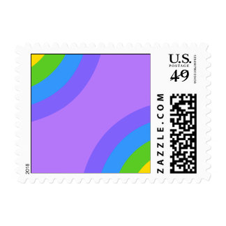 Purple and Multicolor Abstract. Postage Stamp