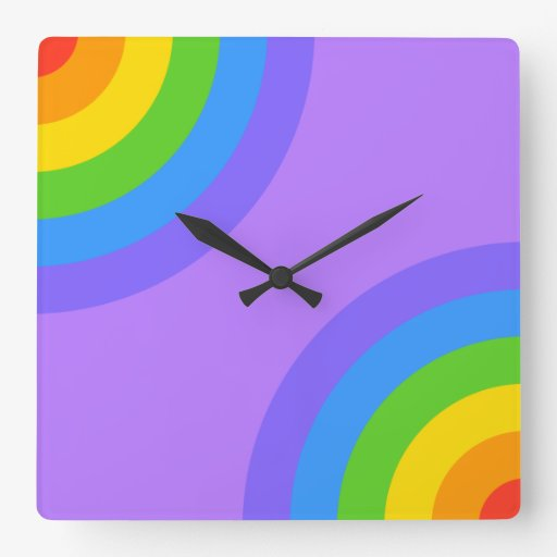 Purple and Multicolor Abstract. Square Wallclocks