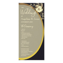Purple and Navy , Gold Floral Wedding Program Card