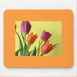 Purple And Orane Tulips Mouse Pad