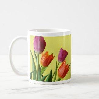 Purple And Orane Tulips mug