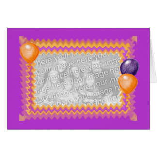 Purple and Orange Balloons Photo Frame Card