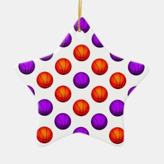 Purple and Orange Basketball Pattern Ceramic Ornament