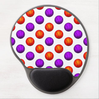 Purple and Orange Basketball Pattern Gel Mouse Pad