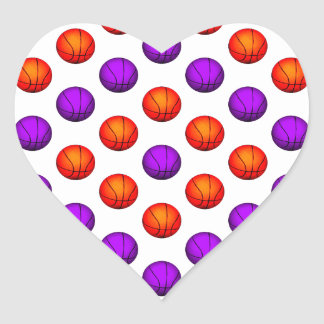 Purple and Orange Basketball Pattern Heart Sticker