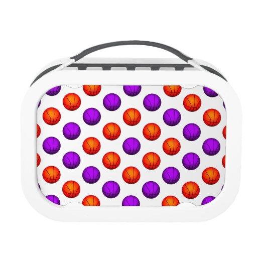 Purple and Orange Basketball Pattern Lunch Box