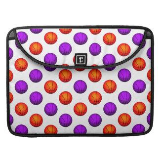 Purple and Orange Basketball Pattern MacBook Pro Sleeve