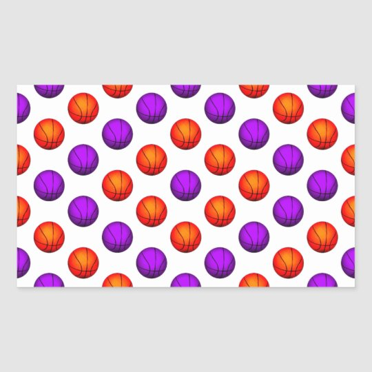 Purple and Orange Basketball Pattern Rectangular Sticker