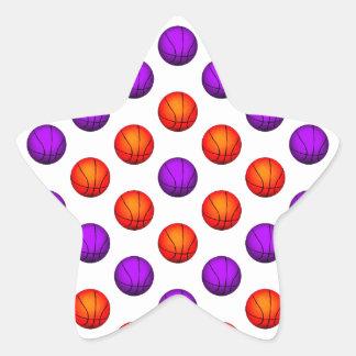 Purple and Orange Basketball Pattern Star Sticker