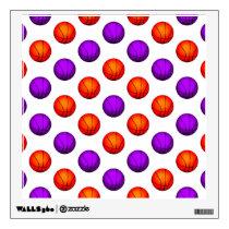 Purple and Orange Basketball Pattern Wall Sticker
