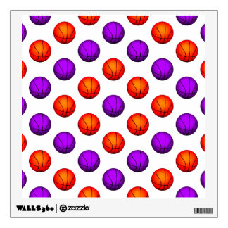 Purple and Orange Basketball Pattern Wall Sticker
