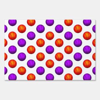 Purple and Orange Basketball Pattern Lawn Sign