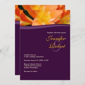 Purple and Orange Budget Wedding Invitation