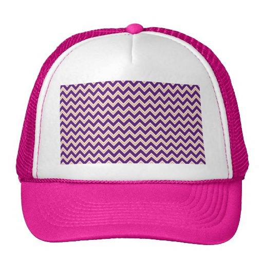 Purple and Orange Chevron Stripes Zip Zag Pattern Trucker Hat