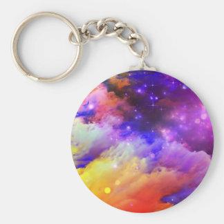 Purple and orange cosmos basic round button keychain